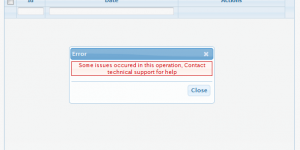 Incase there is some error in execution from server side, error is shown on grid