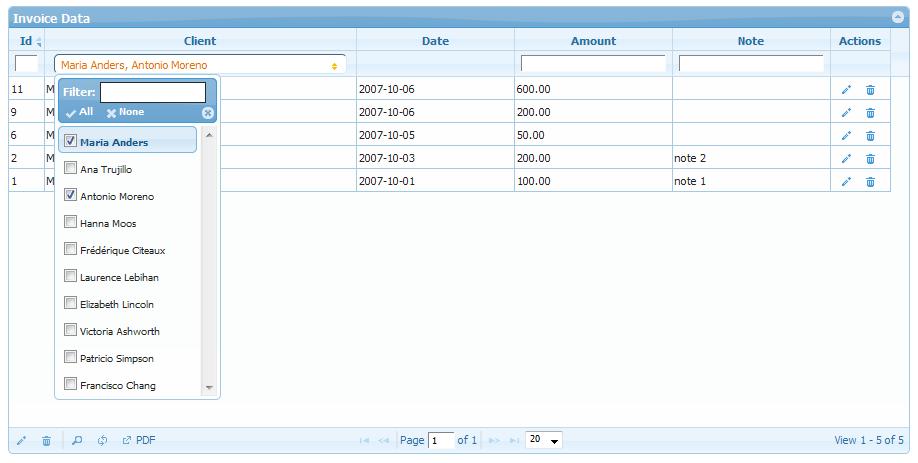 Multiselect Filter in PHPGrid | PHP Grid Framework